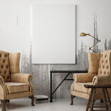 White poster in hipster living room Stock Photos