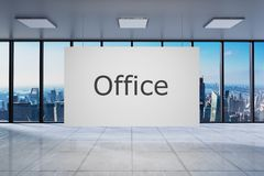 White poster in large modern empty office with skyline view 3D Illustration. White poster in a large modern empty office with skyline view 3D Illustration stock illustration