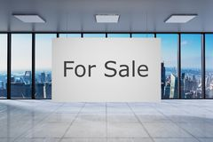 White poster in large modern empty office with skyline view for sale, 3D Illustration. White poster in large modern empty office skyline view for sale, 3D stock illustration