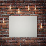 White poster with light bulbs on red brick wall. 3d illustration Royalty Free Stock Photography