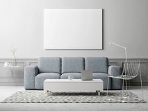 White poster in living room, Scandinavian design, 3d illustration. Hipster dream living room, domestic life Royalty Free Stock Photography