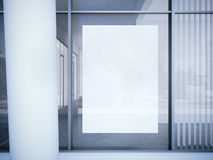 White poster on the office window. 3d rendering stock illustration