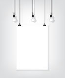White poster on wall and bulb Stock Photos