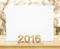 White poster and 2016 year wood texture with sparkling gold boke. H wall and wooden table vector illustration