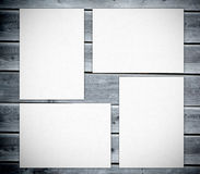 White posters against  wooden boards Royalty Free Stock Photos