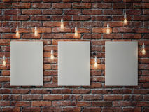 White posters with light bulbs on red brick wall. 3d illustration Royalty Free Stock Photo