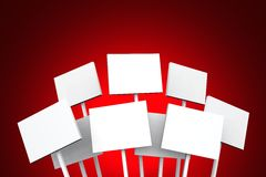 White posters on red background Royalty Free Stock Photos