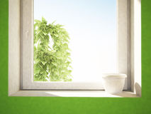White pot on the windowsill Stock Photo