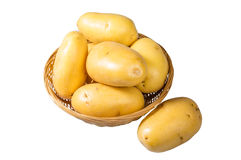 White potatoes fresh picked in bowl isolated Stock Image