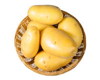 White potatoes fresh picked in bowl isolated Stock Images