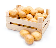 White potatoes in wooden crate Stock Photo