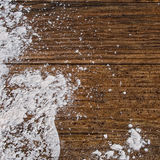 White powder, flour,on rustic wooden board. Stock Image