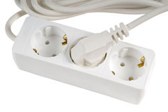 White power extension cord Stock Photo