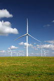 White Power Generating Wind Turbines Stock Photo