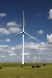 White Power Generating Wind Turbines Royalty Free Stock Images