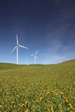 White Power Generating Wind Turbines Stock Photos