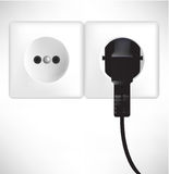 White power outlet and socket. Illustration Royalty Free Stock Images