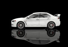 White Powerful Modern Car on Black Background - Side View Stock Images