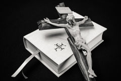 White prayer book and cross Stock Photography
