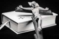 White prayer book and cross Stock Image