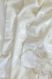 White Prayer Shawl - Tallit, jewish religious symbol Stock Photos