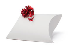 White present box with red ribbon Royalty Free Stock Image