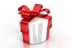 White present with red ribbon Stock Image