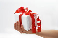 White present with red ribbon in woman hand. Stock Photos