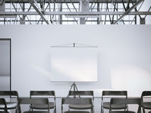 White presentation roller screen in conference room. 3d rendering Royalty Free Stock Photo