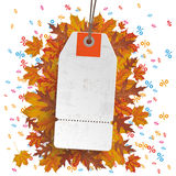 White Price Sticker Autumn Foliage Percents. Price sticker with foliage and colored percents Stock Photography