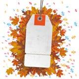 White Price Sticker Autumn Foliage Percents Stock Photography