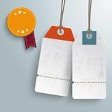 2 White Price Stickers 1 Round Sticker PiAd Stock Photo