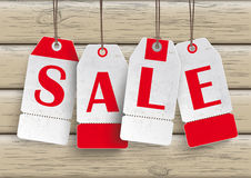 4 White Price Stickers Sale Wood Stock Image