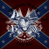 White print with eagle and vintage weapons on Confederate flag background Royalty Free Stock Photography