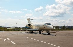 White private jets on the platform Royalty Free Stock Photos