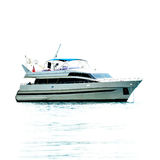 White private motor yacht. In sea Royalty Free Stock Image