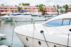 White private yacht in harbor Royalty Free Stock Images
