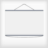 White projection screen hanging from wall Royalty Free Stock Photography