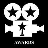 White projector awards star trophy. Vector illustration black background stock illustration