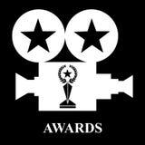 White projector awards trophy star laurel. Vector illustration black background vector illustration