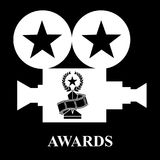 White projector awards trophy star strip film. Vector illustration black background Stock Photo