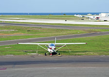 White propeller airplane Royalty Free Stock Image