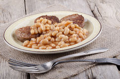 White pudding and baked beans Stock Photo