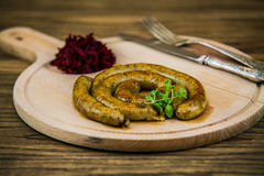 White pudding on a wooden board Stock Photo