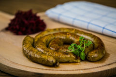 White pudding on a wooden board Stock Image