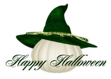 White Pumpkin Happy Halloween. This lovely white pumpkin topped with a beautiful textured green witch's hat. The words Happy Halloween added in lovely royalty free illustration