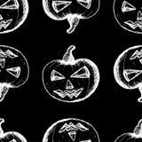 White pumpkins on a black background. Seamless pattern, hand drawn set of halloween attributes, white pumpkins on a black background Stock Photos
