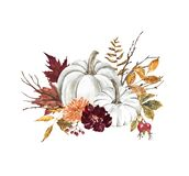 White pumpkins composition, hand painted illustration. Fall holiday decoration with pastel pumpkin, leaves, burgundy flowers