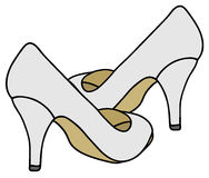 White pumps. Hand drawing of a classic white pumps Stock Images