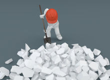 White puppet, White whit, with shovel and protective helmet. Dig debris, build, break down. 3d rendering Stock Photography